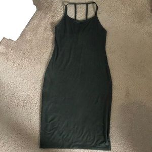 Suede olive body fitting dress